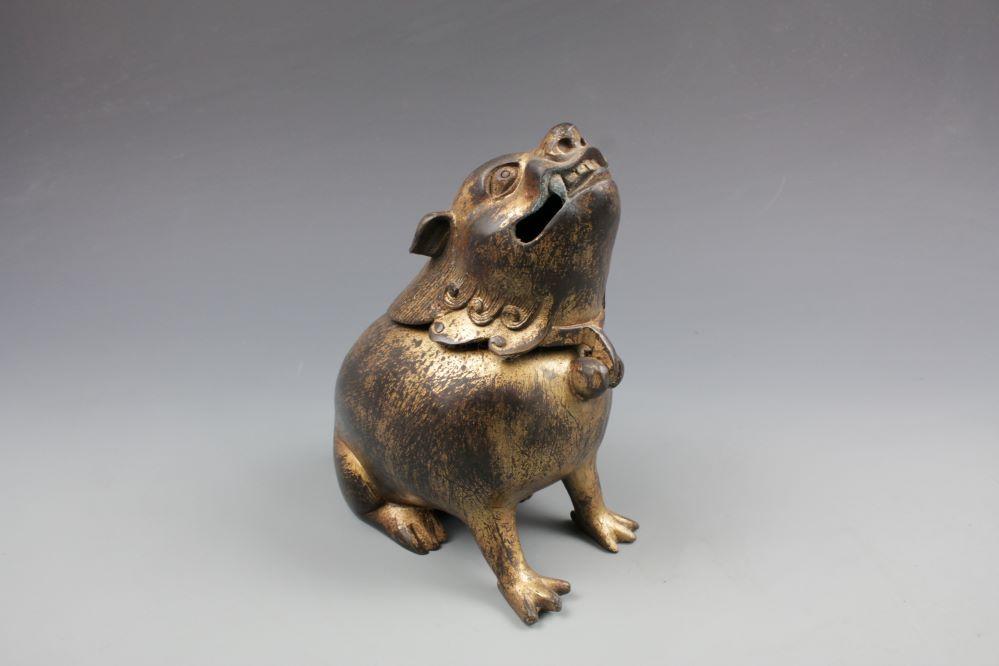 中国古玩 銅器獅子香炉 乾隆御製の画像1