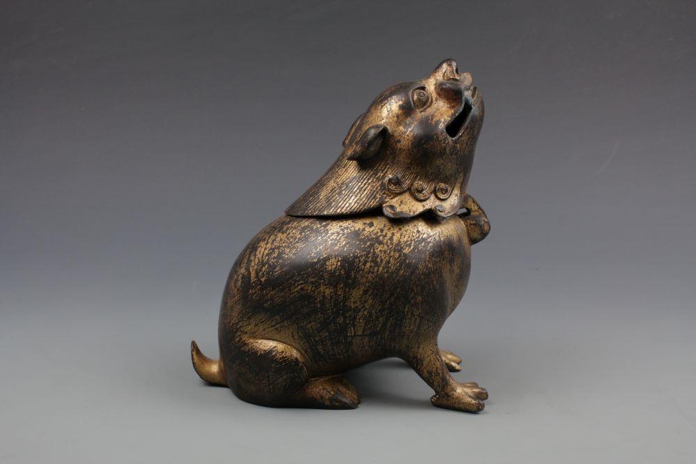 中国古玩 銅器獅子香炉 乾隆御製の画像2