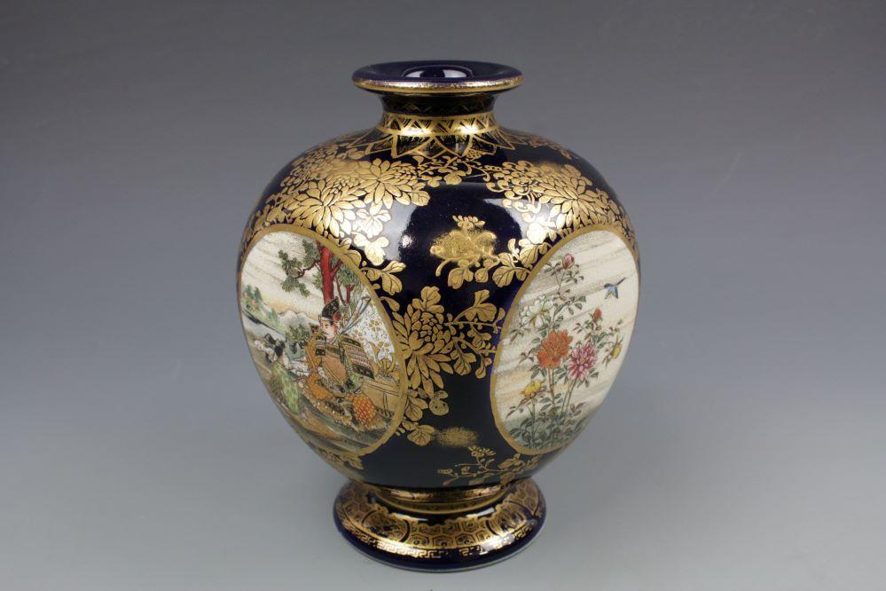 瑠璃薩摩 四面間取り花瓶の画像1
