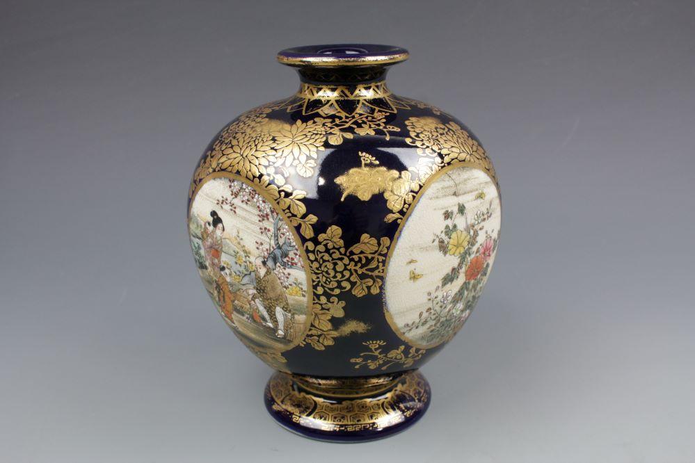 瑠璃薩摩 四面間取り花瓶の画像2