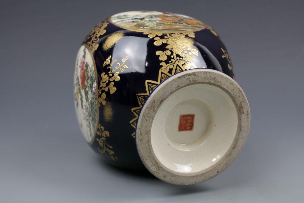 瑠璃薩摩 四面間取り花瓶の画像3